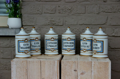 Antique VIEUX BRUSSELS porcelain 6 apothecary pharmacy jars pots