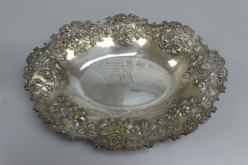 S. Kirk & Son Sterling Silver Repousse Oval Serving Tray - Monogrammed