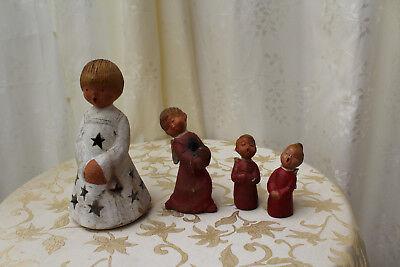 JULLAR ♛ 5x VINTAGE KERAMIK Engel Kerzenhalter ROT singende Weihnachtsengel 🎀