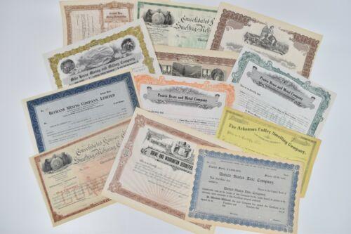 Lot 12 Vintage Stock Certificate Mining Metal Milling Smelting Refining 1890
