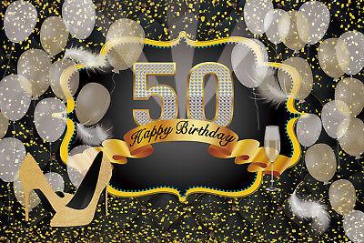50th Happy Birthday 10x8ft Vinyl Photography Photo Background Studio Backdrop LB
