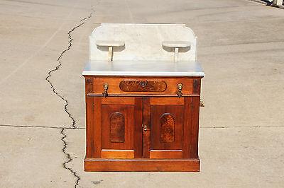 Burl Walnut Victorian Marble Top Washstand w Candle Holders BackSplash Ca.1870