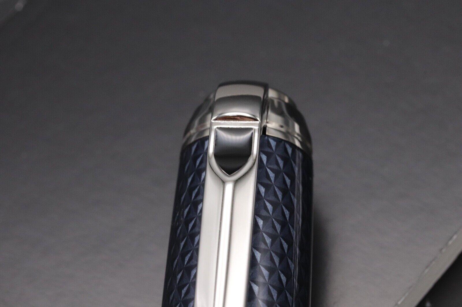 S.T. Dupont Fire Head Medium Blue Guilloche Ballpoint Pen 4