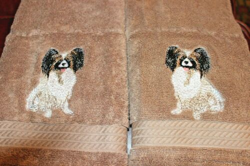 Papillon Dog Breed Bathroom SET OF 2 HAND TOWELS EMBROIDERED