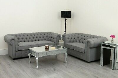Chesterfield Grey Sofa Linen Fabric 3 + 2 Seat Suite Set Settee Modern Lounge