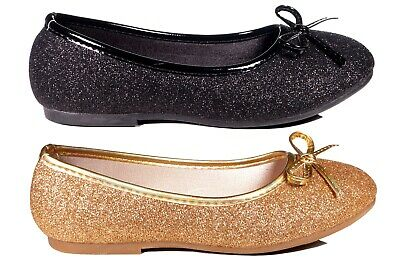 Girls Toddlers & Youth Formal Party Black Gold Glitter Dressy Flat shoes 8-4 (Girls Gold Party Shoes)
