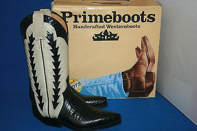 Weiße Leder Western Cowboy Stiefel (Prime Boots Cowboystiefel westernstiefel  stiefel neu  gr. 37  schwarz weiß)