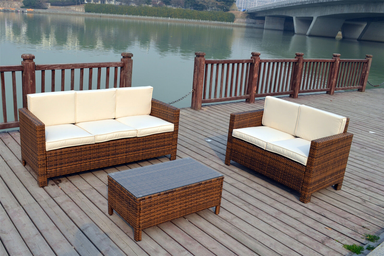 Rattan garden outdoor wicker patio furniture conservatory for Outdoor furniture wicker