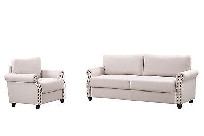 2pc Linen Fabric Living Room Sofa & Armchair Set w/ Nailhead Trim - Beige