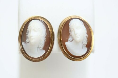 Vintage 14k Gold w/ Carved Shell Cameo Earrings