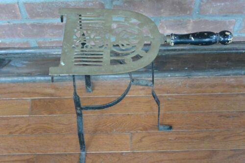 "Antique Brass & Iron Hearth Fireplace Trivet Wood Handle 13 1/3"" Tall"