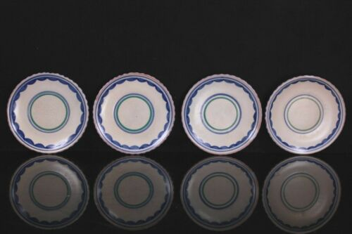 Antique Poole Pottery Transitional Period Four Plates Circa 1930