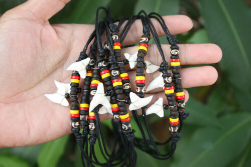 10 Handmade Shark Tooth Necklaces Aboriginal Coconut Beads Wholesale (USPS only)
