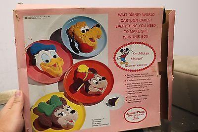 Vintage Wilton Walt Disney Mickey Mouse Cake Decorating Kit Pan With Box - Mickey Mouse Cake Kit