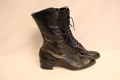 """NEAT ANTIQUE VICTORIAN WOMEN'S BLACK LACE UP LEATHER BOOTS/SHOES - 9-1/2"""" LENGTH"""