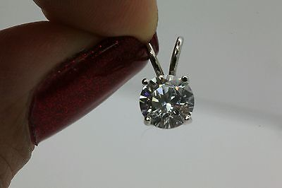 1CT ROUND SOLITAIRE PENDANT NECKLACE  SOLID 14K WHITE GOLD