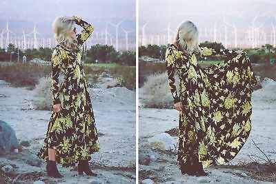 Free People First Kiss Black Yellow Floral Print Boho Maxi Dress Gown Xs Rare
