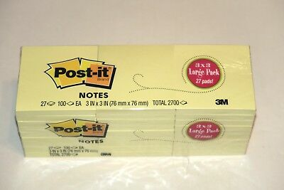Post-it Sticky Notes- Package Of 27- Total 2700 Sheets Yellow. 3 Available