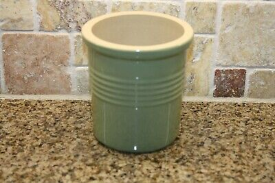 The Pampered Chef Family Heritage Stoneware Utensil Holder/Crock Sage - Stoneware Utensil