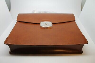 S.T. DUPONT LINE D  BRIEFCASE BROWN LEATHER FLAP-OVER 181101 MSRP 1200.00 Leather Flap Over Briefcase