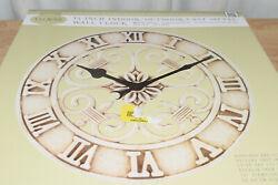 La Crosse Clock 14 In. Antiqued White Cast Iron Indoor/Outdoor Wall Clock