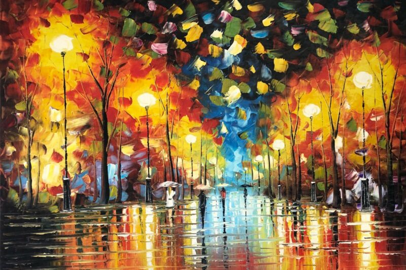 Canvas+Wall+Art+Modern+Decor+Oil+Painting+Hand+Painted%2CRain+Night%2C+61+X+91+cm