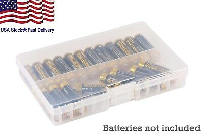 Battery Holder Storage Case Battery Organizer Box Clear For 48 AAA Batteries