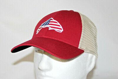 11728118 Simms Fly Fishing USA Patch Trucker Mesh Snapback Hat Cap in Scarlet OSFM