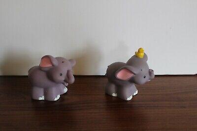 Fisher Price Little People ELEPHANTS w/bird  2 Noah's Ark Zoo animal figures lot