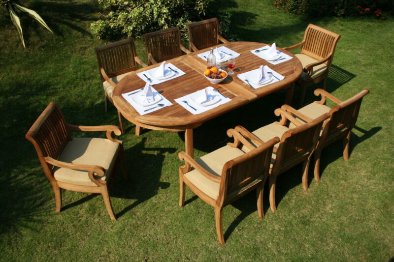 "9-piece Outdoor Teak Dining Set: 117"" Oval Extension Table, 8 Arm Chairs Giva"