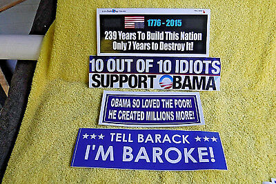 4 PAK ANTI BARACK OBAMA LARGE POLITICAL BUMPER STICKERS! 239 YEARS, BAROKE, ETC. Anti Barack Obama Stickers