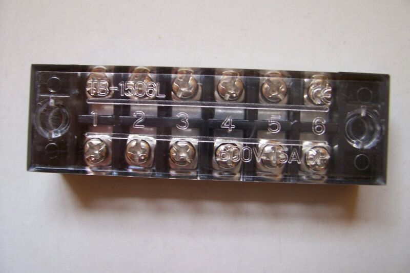 (157B)  G,O,HO,N, ? 15A 600V  6 POSITION DUAL ROW TERMINAL BLOCK WITH COVER