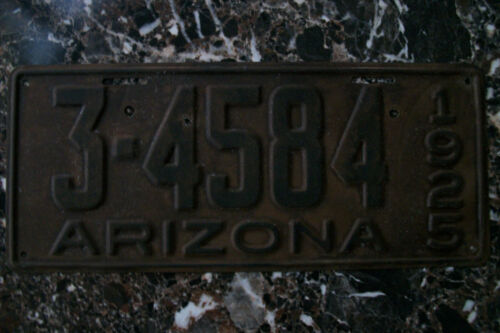 VINTAGE 1925 ARIZONA LICENSE PLATE, # 3-4584 PIMA COUNTY, DMV CLEARED 9/25/20.