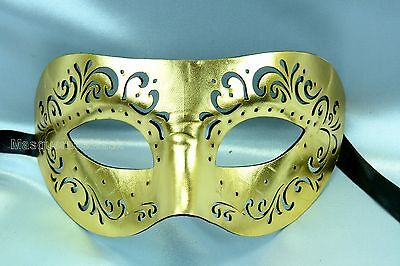 Black Gold Mens Leather cut Masquerade Ball Mask for man Costume Prom Eye Party (Black Masks For Masquerade Ball)