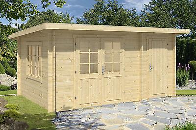Lagerware !  34 mm Gartenhaus Pultdach 4,5x3 m + Anbau Gerätehaus Holz Schuppen