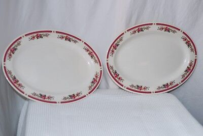 Lot of 2 Chinese Melamine Ware Oval Platter Cream with Pink Floral Border 13.75""