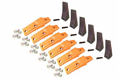 6 - Bobcat Style Skid Steer Bucket Teeth W Bolt On Shanks Pins Hardware
