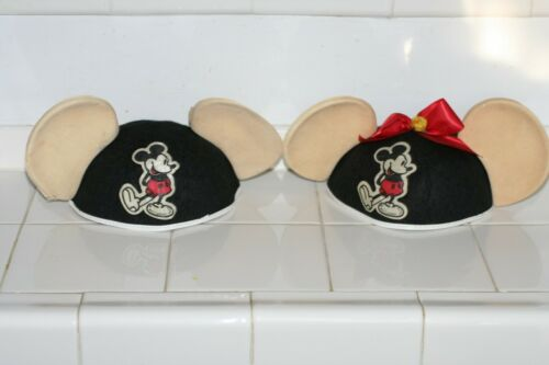 Vintage Disney Mickey Mouse Ears Hat Lot of 2 Mousekeeters 1950