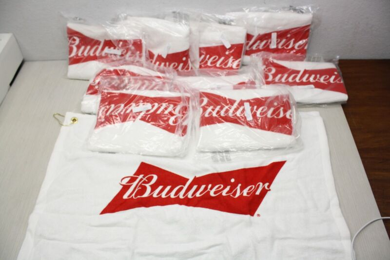 10x Budweiser Golf Bag Towel AB Brand New Authentic Sealed w/ Clip and Ring
