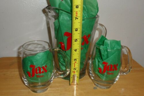 "JAX Beer~Vintage 7 1/2""T Painted Pitcher w/2 Handled Glasses-RARE !!"