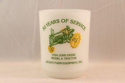Vintage JOHN DEERE Advertising ANCHOR HOCKING Coffee MUG 1934 MODEL A TRACTOR