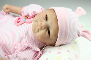 17'' 43CM Silicon Lifelike Reborn Baby Doll New Born Doll Cute Smiling Baby Gift
