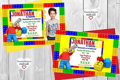 Movie Themed Invitations (10 Personalised Lego Movie Bricks Blocks Themed Birthday Party Invitations)