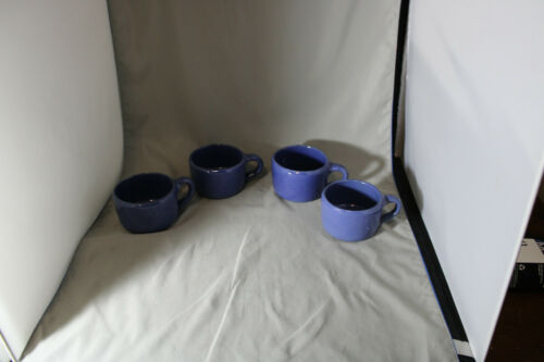 Lot of 4, Bybee, 8 ounce  Blue Mugs