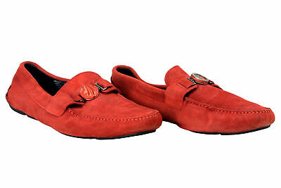 Versace Collection Men's Red Suede Leather Slip On Loafers Shoes Sz 7 11 12
