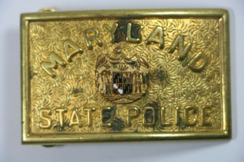Vintage Maryland State Police. Brass Belt Buckle 1960's