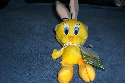 Warner Brothers  8 Inch EASTER TWEETY WITH RABBIT EARS Bean Bag Plush NEW
