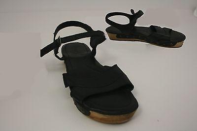 Lanvin Black Ankle-Strap Platform Wedge Sandals 42 Wood Strappy Leather 9 Rivet  - Strappy Ankle Strap Platform Sandal