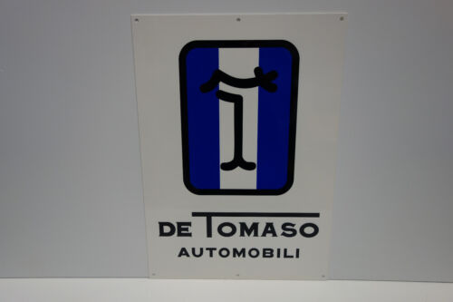 "DE TOMASO AUTOMOBILI CAR COMPANY DIE CUT RARE ENAMEL SIGN 21"" by 15"" PANTERA"
