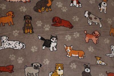 "CORGI & DOGS FLEECE THROW BLANKET 50 x 60"" Beagle Poodle Dalmatian Pug Husky +"